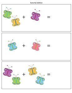 butterfly addition worksheets