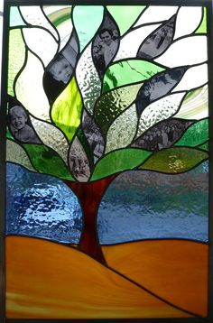 Stained Glass Window - Family Tree - Panel Suncatcher. $240.00, via Etsy.