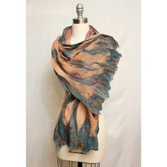 #hvnyteam #hudsonvalley Petra is a Nuno felted silk gauze shawl/scarf in the colors of the sandstone carved city in Jordan. I hand dyed the silk gauze before composing