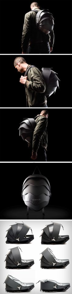 The Pangolin by Cyclus explores nature-inspired design to create a superior and eye-catching backpack. Made for the rebel, maverick biker, the Pangolin is great for wearing while riding. Not only does it store all your gadgets and essentials, it can even hold your bike-helmet, given its unique hemispherical shape. It even opens up like a pivoted shutter as the armadillo-style bands slide one under each other to open up. BUY NOW!
