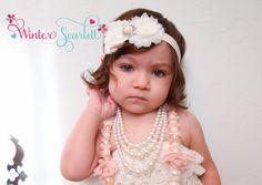 Baby headband Ivory rosette rhinestone flower by WinterScarlett, $8.95