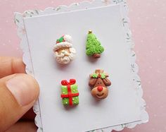 Christmas earrings set Santa jewelry Xmas gift Secret Santa gift ideas Holiday stud earrings Gift for her