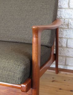 Restored three seater lounge with original foam and fabric. Refinished Furniture, Upcycled Furniture, Mid Century Modern Furniture, Armchairs, Furnitures, Danish, Mid-century Modern, Upholstery, Lounge