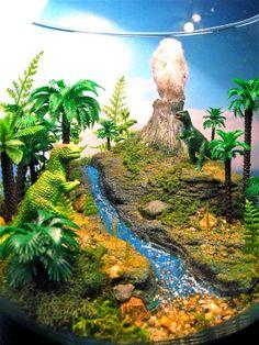 Dinosaur Terrarium / Diorama / TRex Volcano Attack  by Megatone230, $134.00 Rainforest Project, Rainforest Habitat, Dinosaur Diorama, Jackson School, Dinosaur Projects, Aquariums, Dinosaur Garden, Dino Park, Miniature