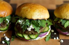 Mediterranean-Spiced Lamb Burger with Cucumbers, Olive Mayo and Arugula