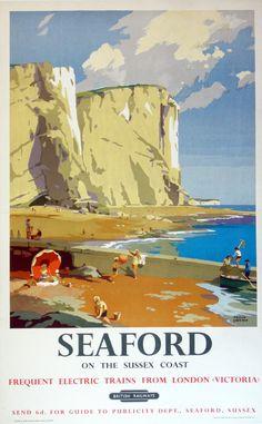 Vintage Railway Travel Poster Seaford Sussex, UK Illustration by Frank Sherwin 1955 Posters Uk, Train Posters, Railway Posters, Illustrations And Posters, Tourism Poster, Art Graphique, Vintage Travel Posters, Illustrators, England