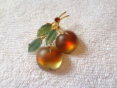 FROSTED GLASS APPLES - AUSTRIA FRUIT PIN