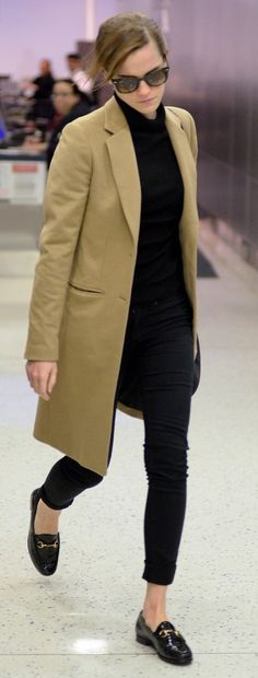 Waiting for my black penny loafers with silver studs to come in. Looking forward to wearing them with an outfit like this. Camel coat, black skinnies.