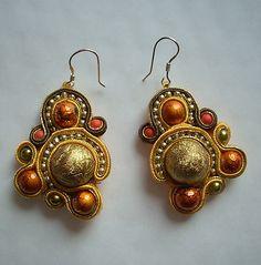 gold orange soutache earrings