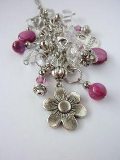 Silver tone flower charmstyle pendant by PurpleGeckoStudio on Etsy, $34.95