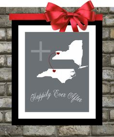 Unique Engagement Present: Bridal Shower Gift, Personalized Wedding GiftsTwo states travel map Holiday Gift for New Couple 8x10 on Etsy, $23.99
