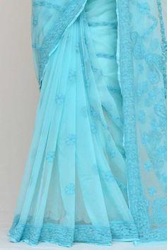 Blue Colour Half Chhadi Jaal Hand Embroidered Lucknowi Chikankari Saree (With Blouse - Georgette) Saree Shopping, Half Saree, Sarees Online, India, Colour, Silk, Blouse, Stuff To Buy, Design