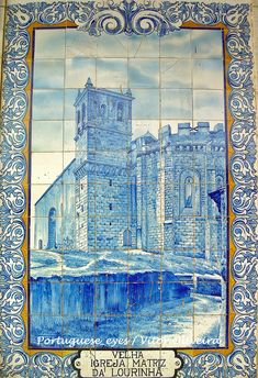 Castle in a hand painted azulejo pannel on the Outeiro da Cabeça railways station - Portugal