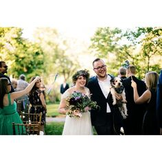 Amy, Mike and their dog Dennis right after their beautiful outdoor ceremony at Bartram's Garden in early September. Photography by Peach Plum Pear Photo. Flowers by Love 'N Fresh Flowers. Peach Plum Pear, Wedding Events, Weddings, Philadelphia Wedding, Organic Modern, Outdoor Ceremony, Love People, Photojournalism, Event Planning