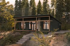 Small Rustic House, Small Modern Cabin, Modern Lake House, Rustic House Plans, Cabin House Plans, Mountain House Plans, Modern Rustic Homes, Modern Cottage, Rustic Cottage