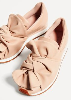 Zara | blush-leather sneakers with bow detail | 2017