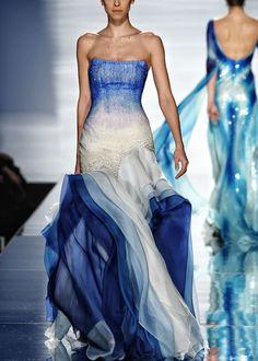 White and blue Rami al Ali beautiful dress