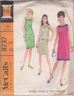 McCall's 8737 Vintage 60's Sewing Pattern LOVELY Mod Contrast Band Trim Summer Party Dress, Shirred Neckline #MOMSPatterns