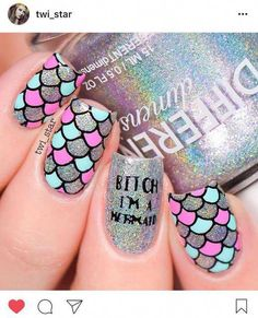 Beautiful nail art designs that are just too cute to resist. It's time to try out something new with your nail art. Cute Nail Art, Cute Acrylic Nails, Cute Nails, Pretty Nails, Gel Nails, Nail Art Rosa, Mermaid Nail Art, Nails For Kids, Unicorn Nails