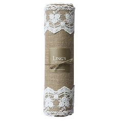 """Ling's moment Natural Burlap Table Runner with Lace on Both Sides country wedding decorations Length Available 12"""" x 7FT"""