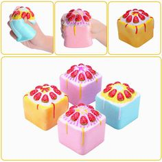 Vlampo Squishy Jumbo Strawberry Cake Slow Rising Original Packaging Cube Cake Collection Toy Gift