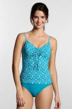 a10f2188d548b Womens Plus Size Beach Living Batik Dot Adjustable Scoop Tankini Top from Lands  End