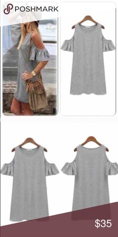 """⭐️ALL SIZES!⭐️NWT Gray Open Shoulder Dress NWT Gray open shoulder dress that is so cute with leggings or as a casual dress! Material is a lightweight cotton blend. SIZING RECOMMENDATION: If you have a larger bust, size up for best fit. Length: XS- 29.5"""" Small - 30"""", Medium - 30.5"""", Large 31""""No Trades and No Paypal Dresses"""