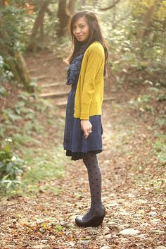 Navy. Mustard. Ruffles & Dots, she makes them look as if they were meant to be!