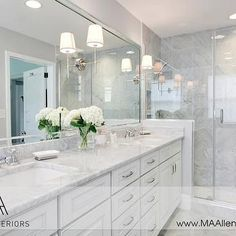 White Cabinets with White Marble Countertops, Contemporary, bathroom, MA Allen I. White Cabinets w Gray Bathroom Walls, White Marble Bathrooms, White Bathroom Cabinets, Gray And White Bathroom, Bathroom Renos, Grey Bathrooms, Beautiful Bathrooms, Bathroom Renovations, Home Renovation