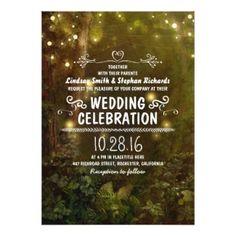 Enchanted Forest Wedding Invitation with String Lights  #rusticweddinginvitations #rusticweddinginspiration  #woodlandweddinginvitations