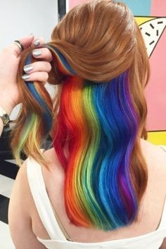 Looking back at the best of 2016 hair trends. Last year was an eventful year for. Looking back at the best of 2016 hair trends. Last year was an eventful year for rainbow hair trends. Metallic hair, glow in the dark hair. and much more! Hair Color Underneath, Under Hair Color, Hidden Hair Color, Short Rainbow Hair, Hidden Rainbow Hair, Rainbow Dyed Hair, Hair Styles 2016, Long Hair Styles, Dyed Hair
