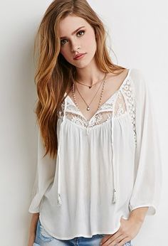 Embroidered Mesh-Paneled Peasant Top   Forever 21 - 2000155267