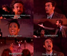 Doctor Who + Harry Potter = BEST THING EVER <3 gotta love tennant :) Hahahah. Katelin!!
