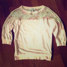 Pink spring top Light pink top with lacey floral details at the top and 3/4 length sleeves.  In perfect condition Forever 21 Tops Blouses