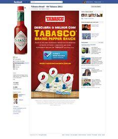 Pagetab para chamar o concurso Descubra o Melhor com Tabasco no Foursquare. Projeto mashup de Google Maps e Foursquare. (2011)