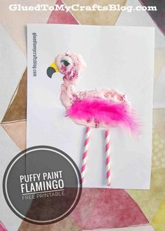 Puffy Paint Flamingo - Free Printable - Summer Themed Kid Craft Idea