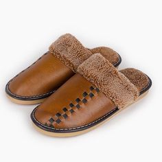 723f79c7fed Men Slippers Indoor Genuine Leather Winter Warm Non Slip Home Thermal  Slippers Bedroom Slippers, Men's