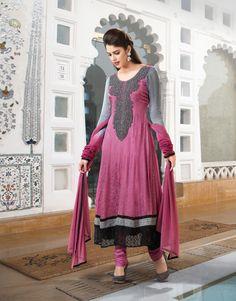 $102.87 Pink Embroidered Creap Silk Aanarkali Salwar Kameez 22284