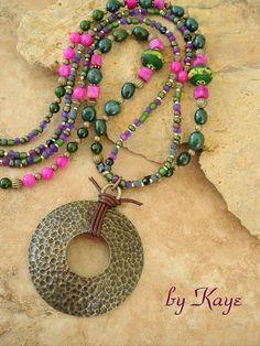 Boho Necklace Colorful Gemstone Bohemian Necklace by BohoStyleMe