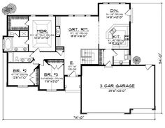 First Floor Plan of European   Traditional   House Plan 73008 (nice master closet, double vanity 2nd bath)