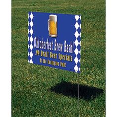 Our exclusive Beer Mug Yard Sign features a blue and white herringbone pattern with frothing beer mug. Best of all, the beer mug yard sign can be personalized.