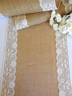 Burlap and lace table runner rustic wedding by DaniellesCorner