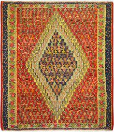 "Multi-colored Persian Kilim 4' 1"" x 4' 9"" (ft) http://www.alrug.com/10079"