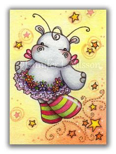 ACEO+Print++Twinkle+Toes++fairy+hippo+ballerina+art+by+JLNilsson