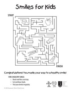 smiles for kids coloring sheet