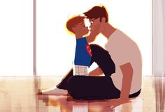 """How to give a kiss. #pascalcampionart. _Daddy...I show you. _...? _Put your cheeks like this and stick your mouth out...see? _Haie Chee... _Smooch..I love you Daddy. _Haie Chove Chyou Choo, Cholin.  This actually happened last night ( or something very similar to  that.) Also, on a side note..as I am drawing and posting this, I am listening to """"Let it go"""" and realizing I know most of the words to the song..sigh... Thank you for that Lily...I love you too."""