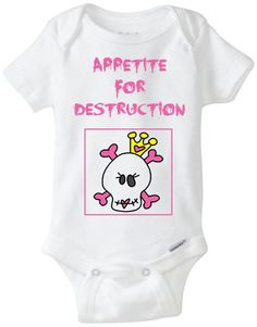 Baby Girl Pink Goth Skull Tiara Halloween Funny Onesie: Appetite For Destruction - New Baby Gift / Baby Shower Present / Funny Onesie