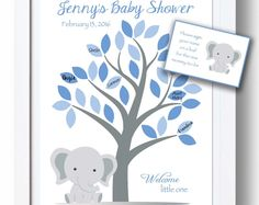 Baby Shower Guest 11x14 Sign-In Tree Poster - Elephant Baby Shower Guestbook Alternative - 35 leaves - READ DESCRIPTION - Other colors