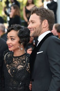 "Irish-Ethiopian actress Ruth Negga and Australian actor Joel Edgerton arrive on May 16, 2016 for the screening of the film ""Loving"" at the 69th Cannes Film Festival in Cannes, southern France. / AFP / ALBERTO PIZZOLI"