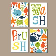 ocean bathroom wall art canvas or prints fish nautical theme bathroom art pictures wash brush rules child kid bathroom set of 4 decor - Kid Prints